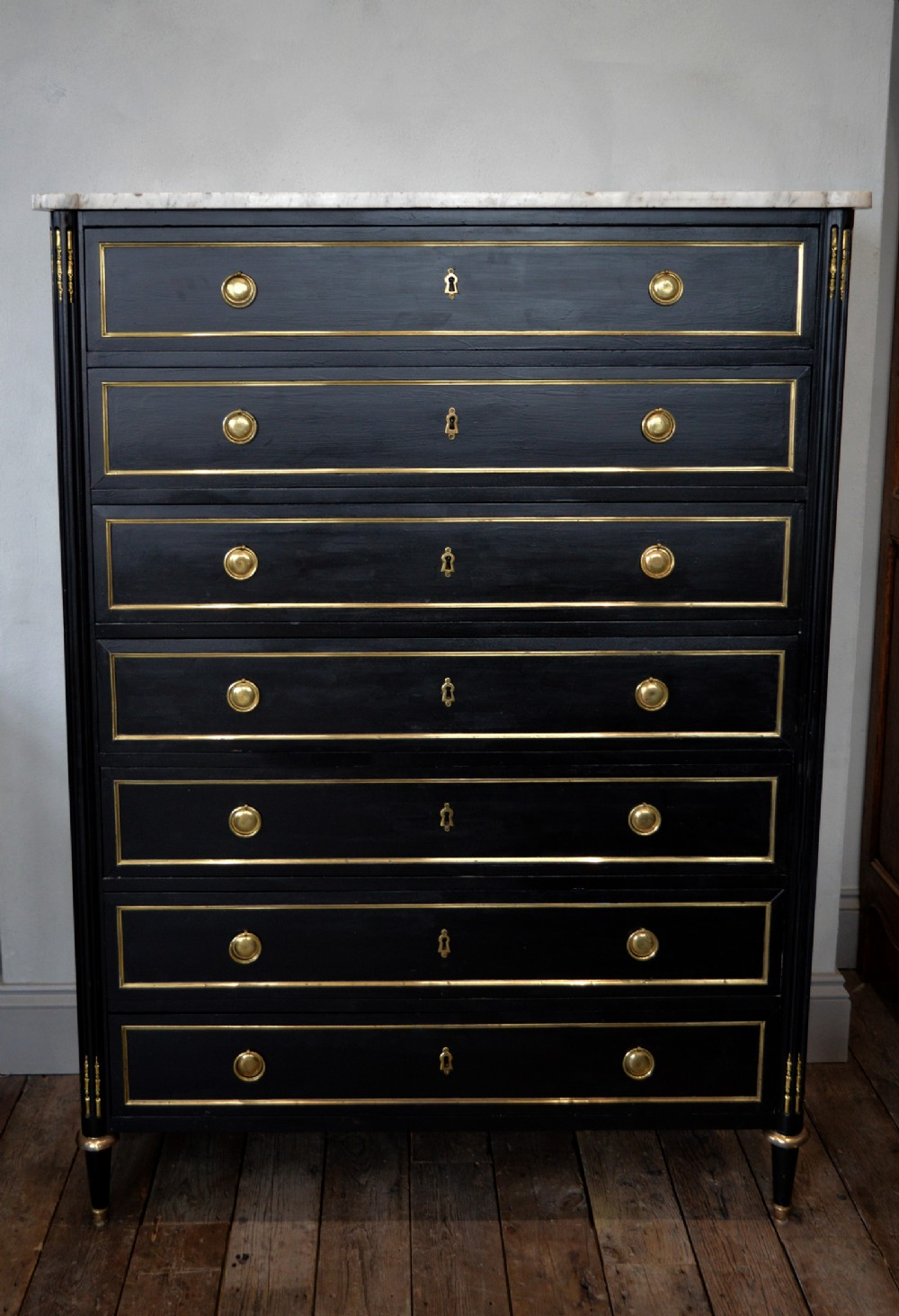 large 19th century french louis xvi semainier chest commode in black