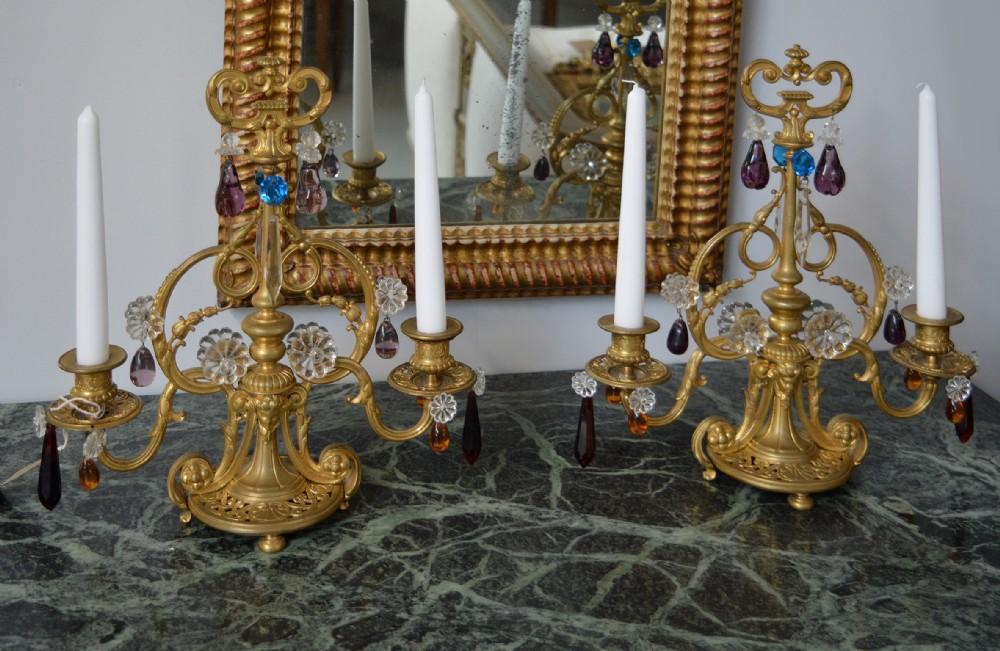 pair of 19th century charles x gilt bronze girandoles candelabra