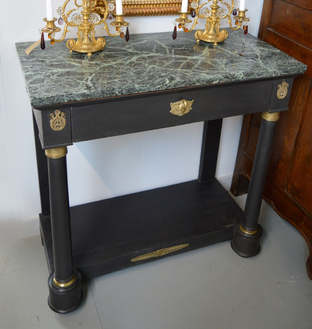 late 19thc french empire marble top console table