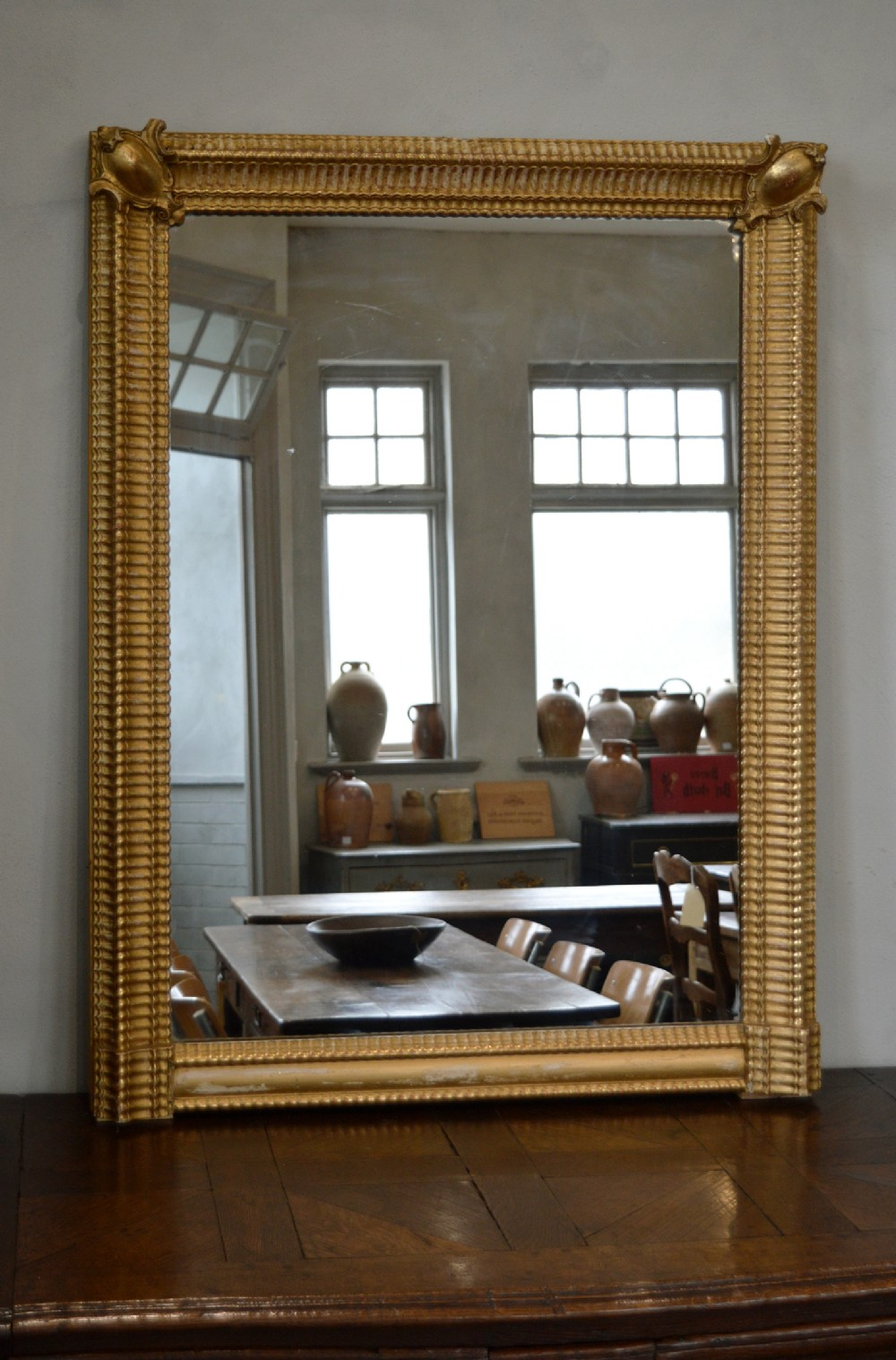 large french 19th century louis philippe gilt frame ripple mirror