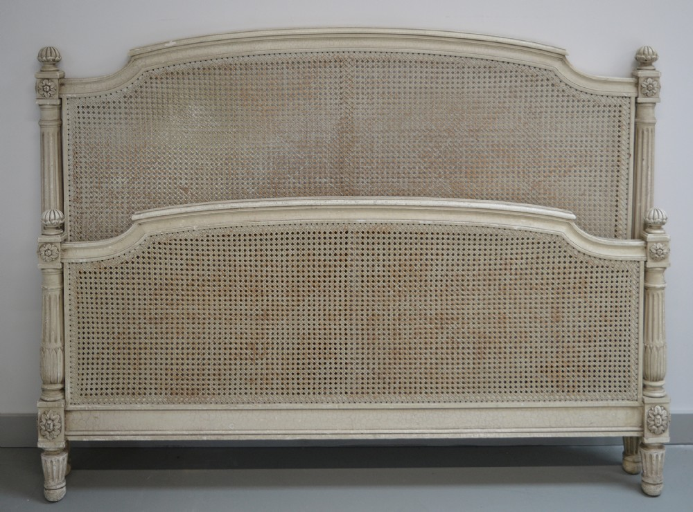 french king size louis xvi style caned painted bedstead