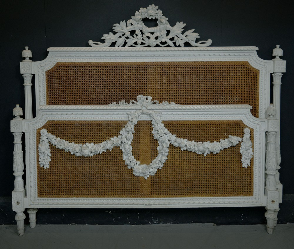 rare french 19th century superking size louis xvi style cane bedstead