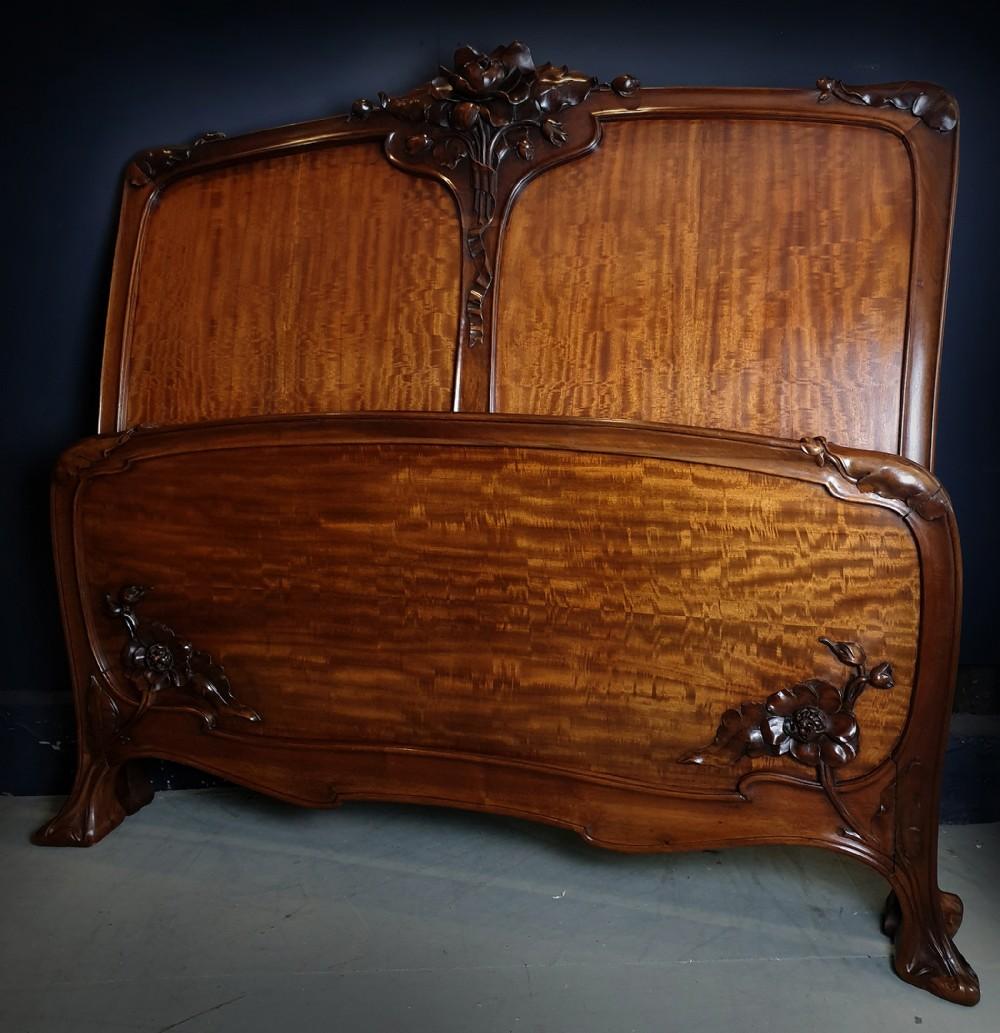 rare french high art nouveau c1900 walnut quartered mahogany double bedstead
