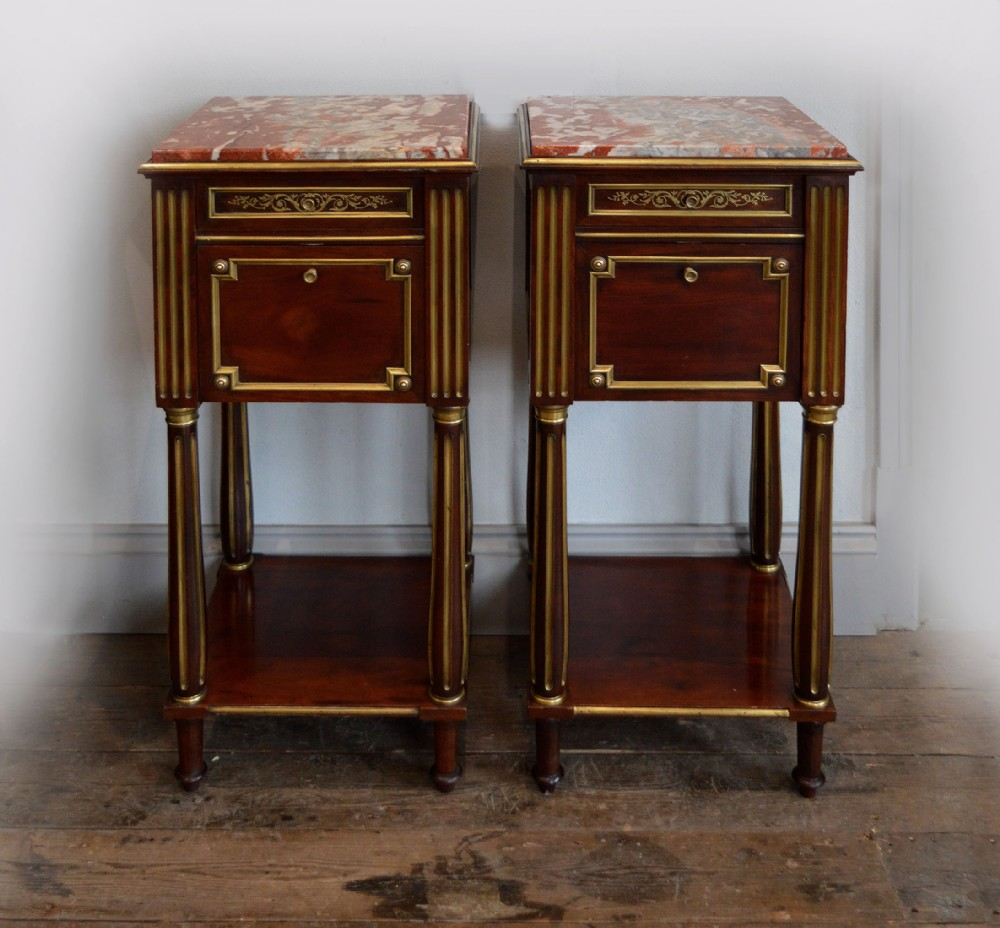 rare pair of mid 19th century napoleon iii bedside tables