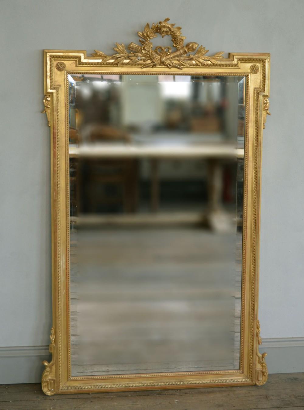 lovely quality mid 19th century louis xvi style gilt mirror