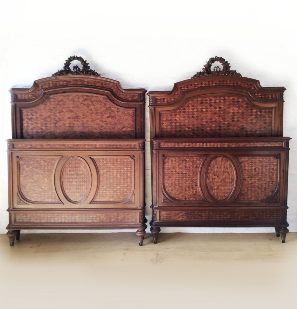 fine pair of late 19th century louis xvi style bedsteads c1890