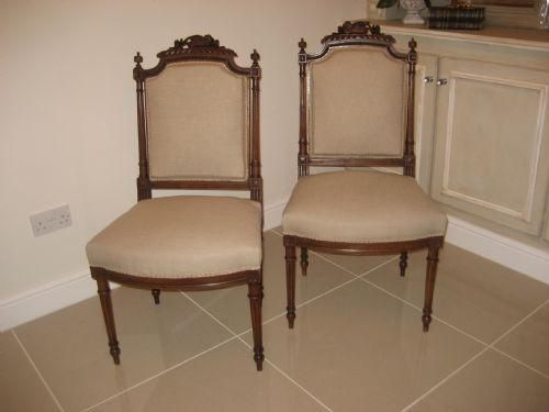 pair of elegant french walnut decorative chairs