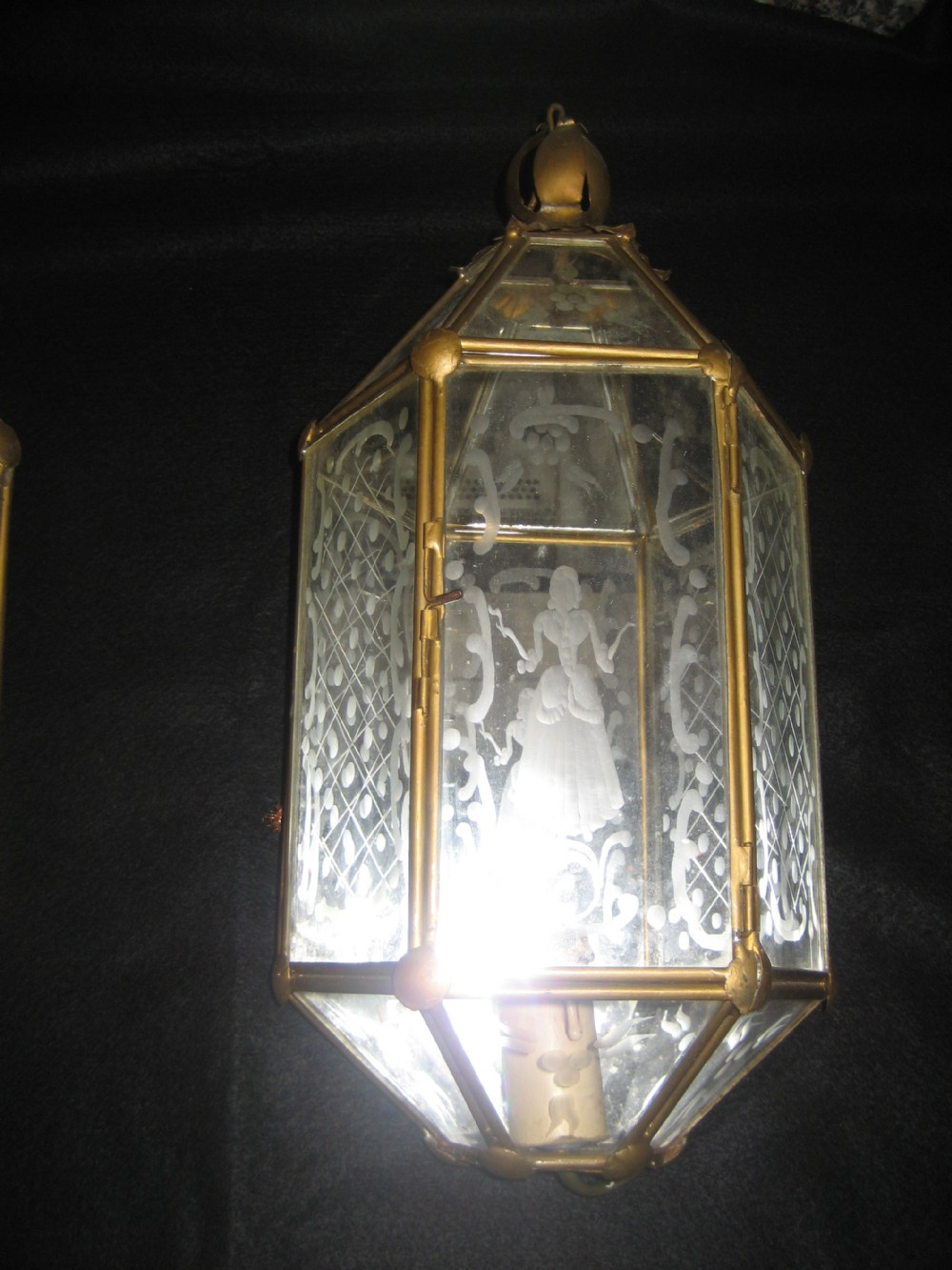 Etched Glass Wall Lights : A Stunning And Very Rare Pair Of French Etched Glass Brass Panelled Wall Lights 256173 ...