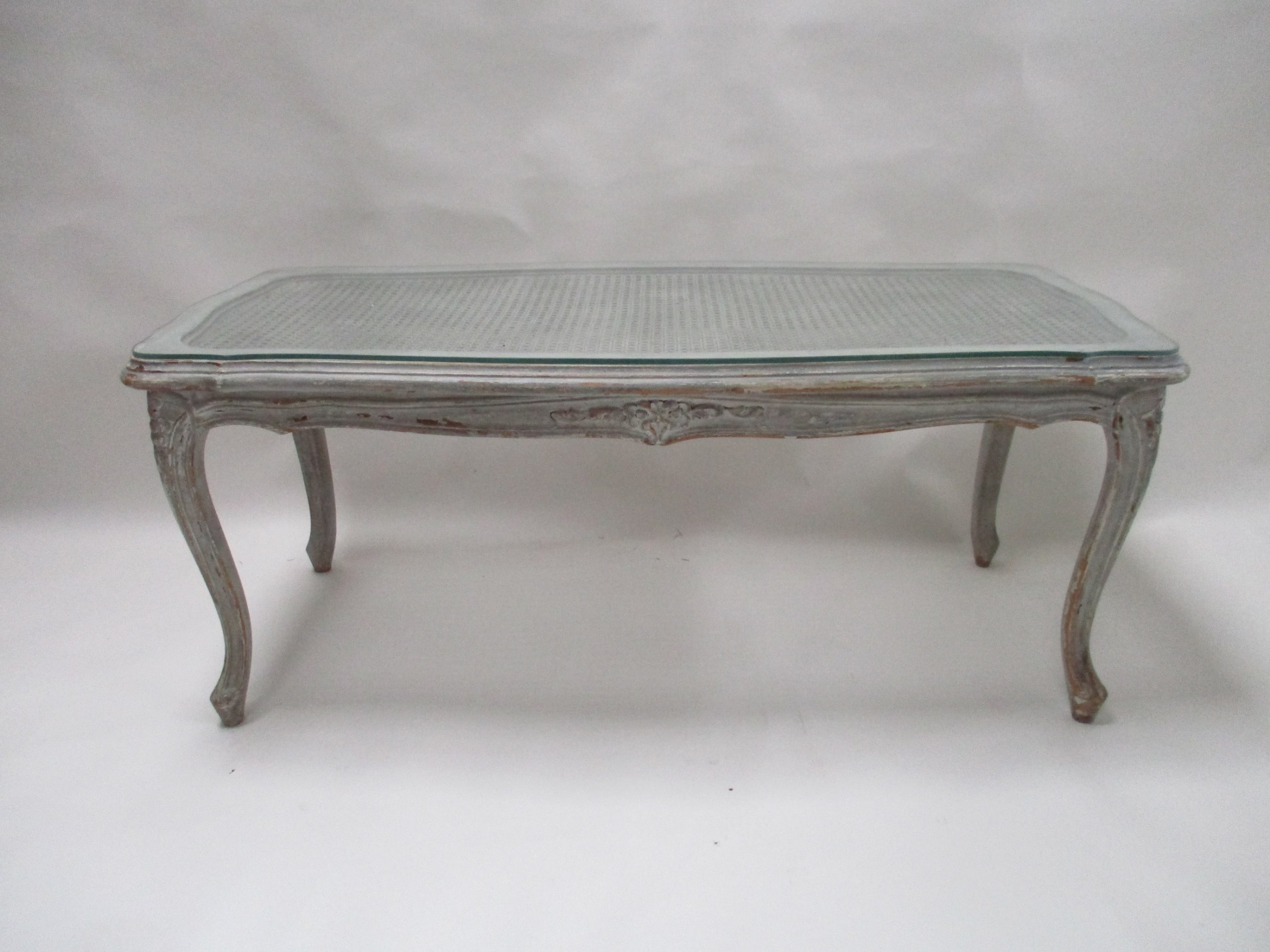 French Hand Craved Painted Coffee Table