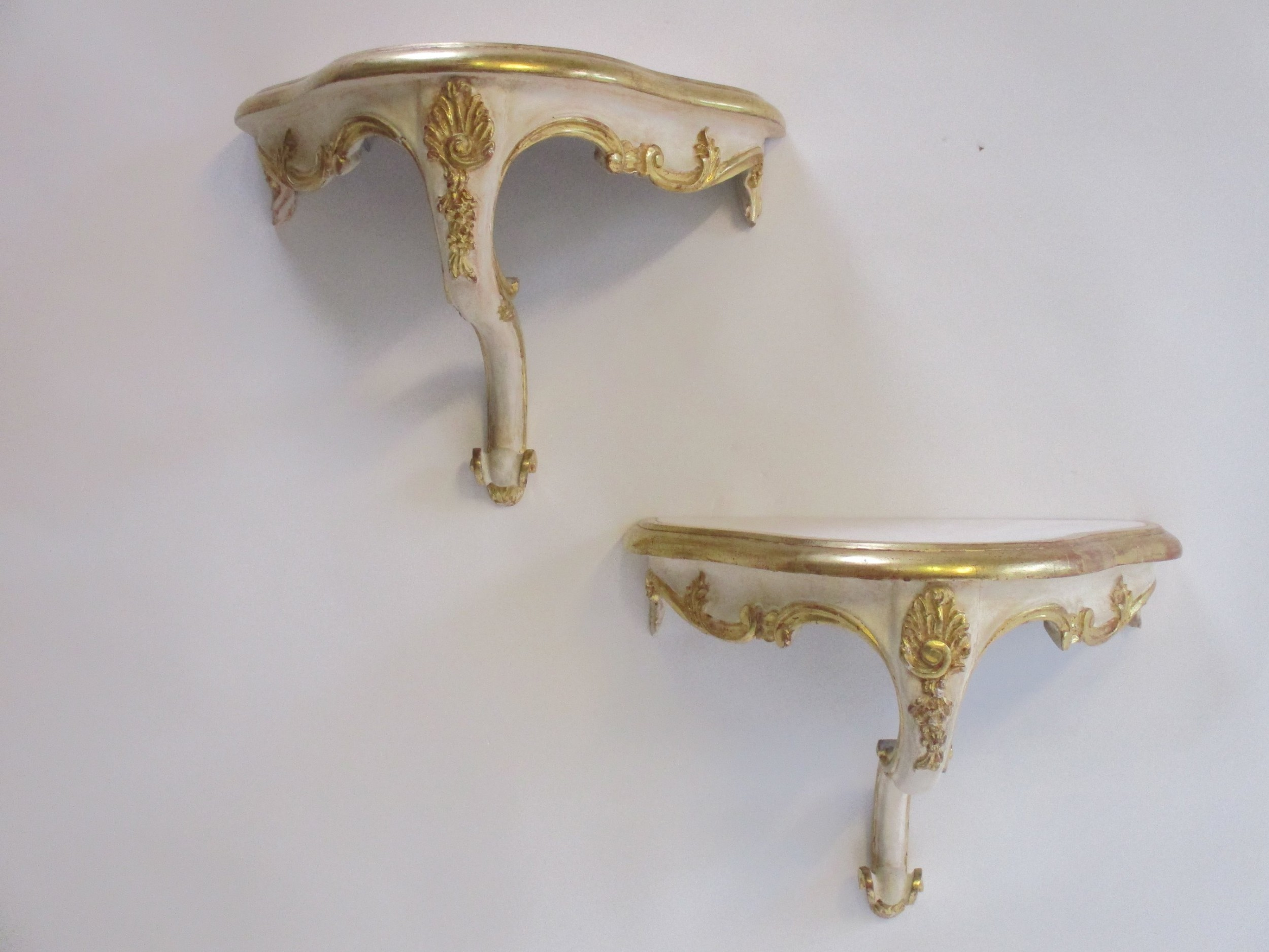 French Pair Of Decorative Wall Mounted Console Tables