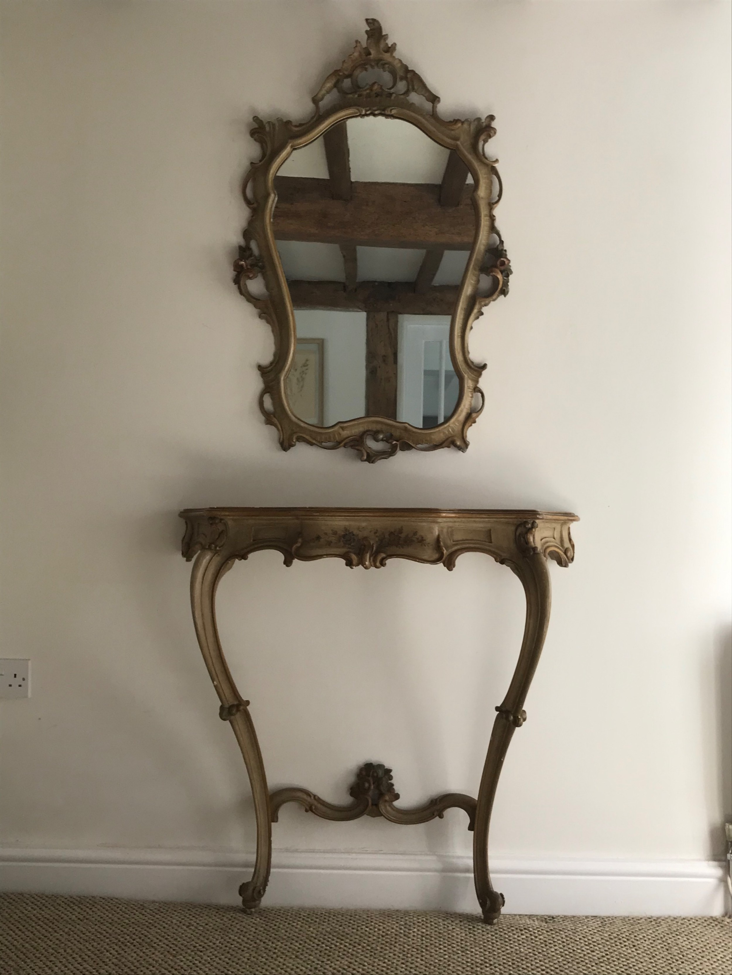 italian hand painted console and mirror