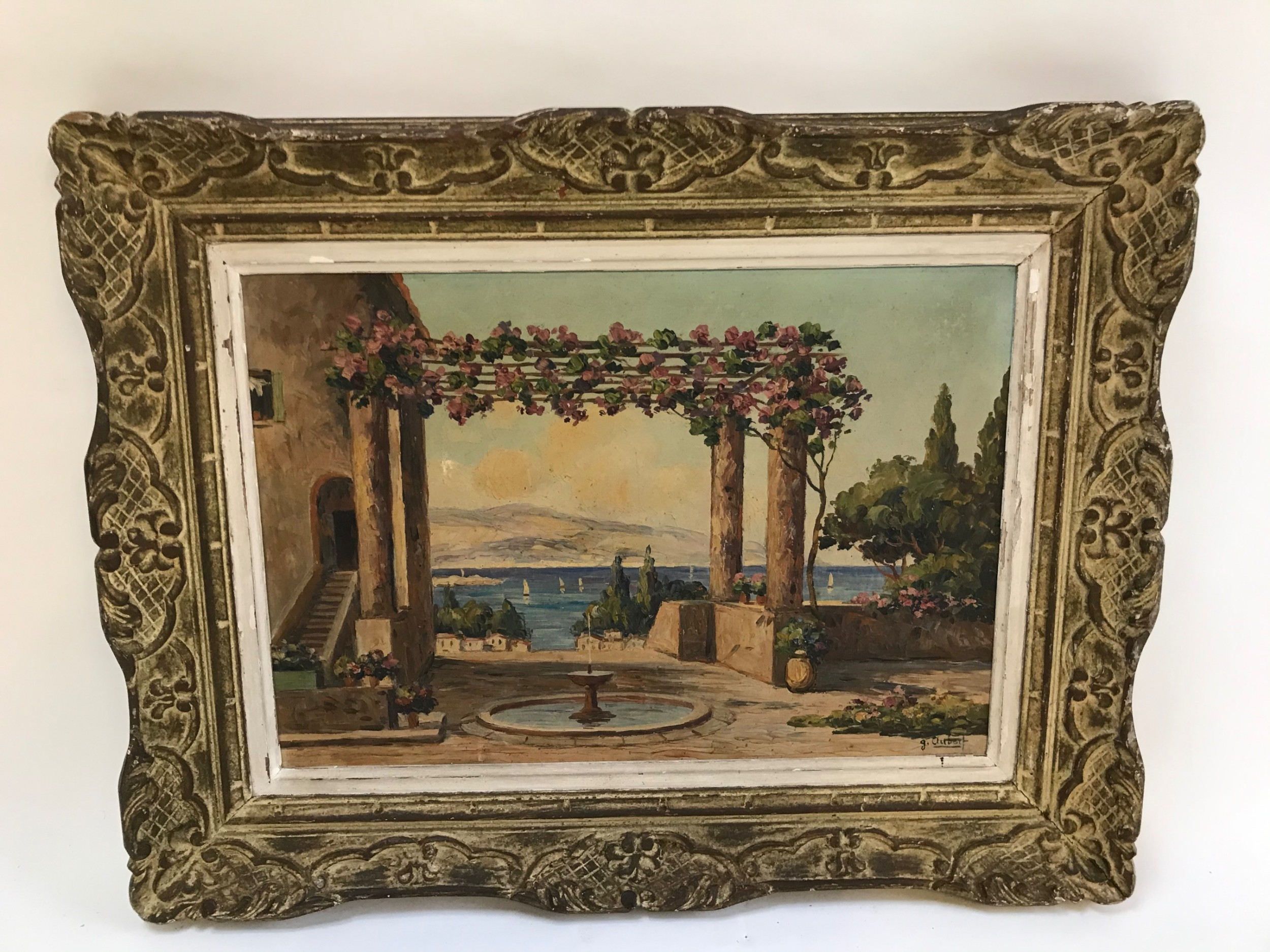 french riviera painting oil on canvas