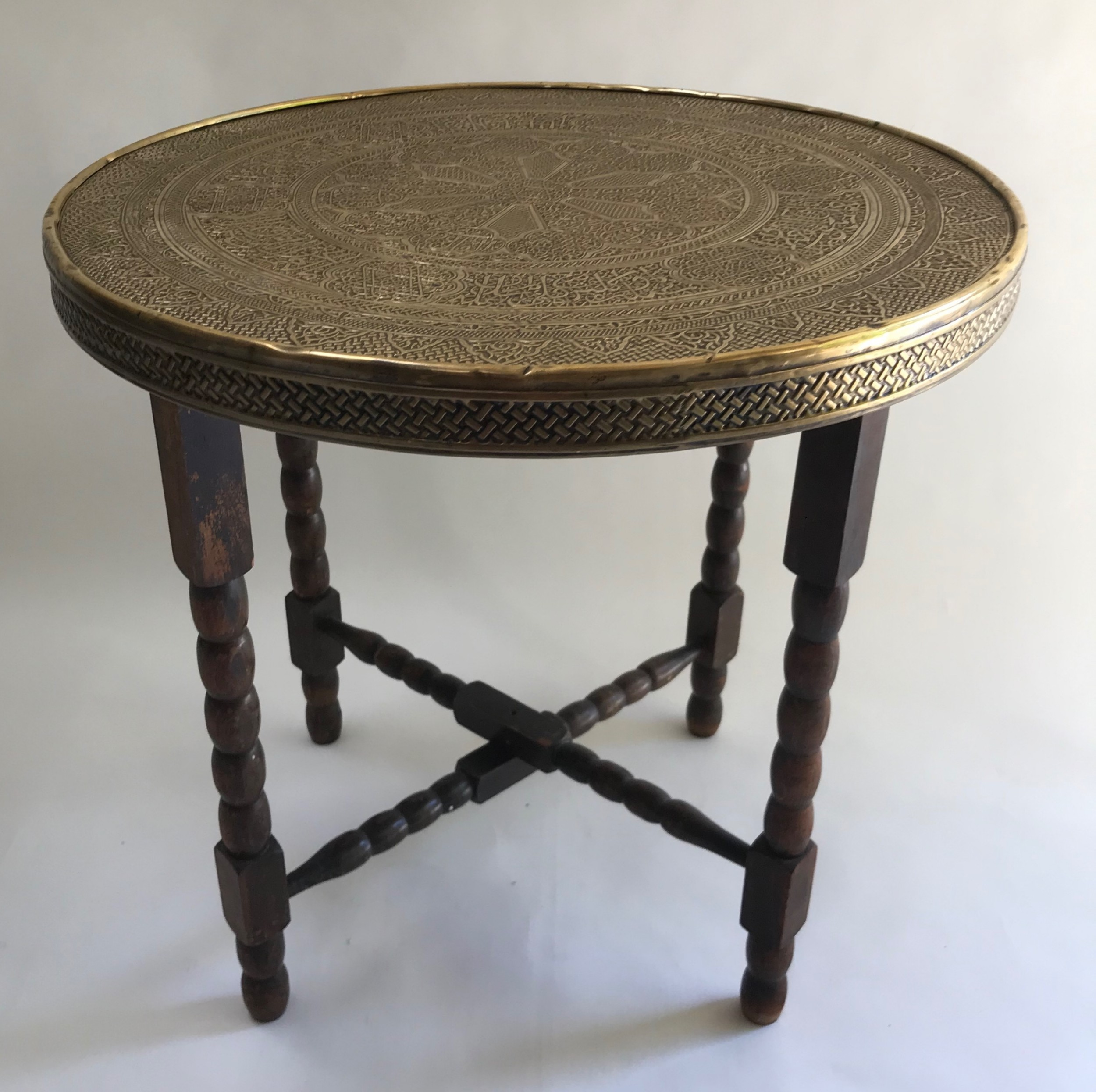 brass tray top table on folding stand