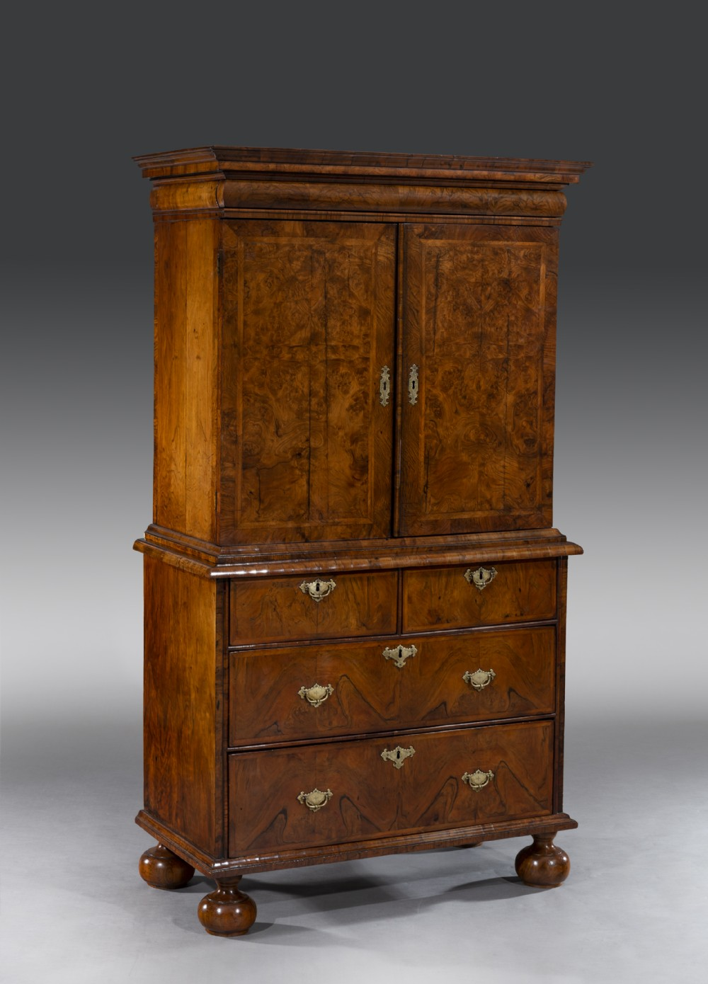 queen anne walnut cabinet on chest