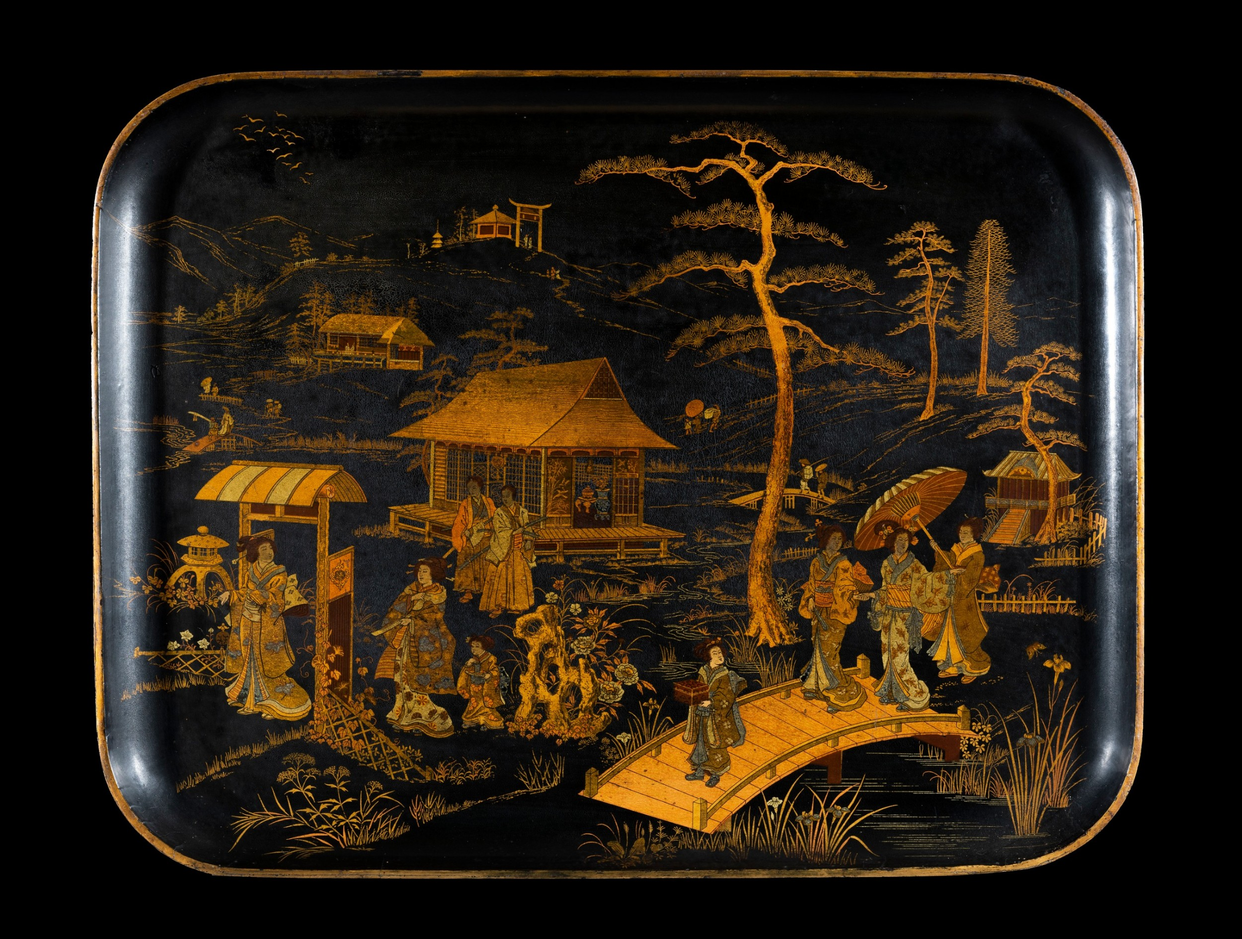 chinese papiermch lacquer tray