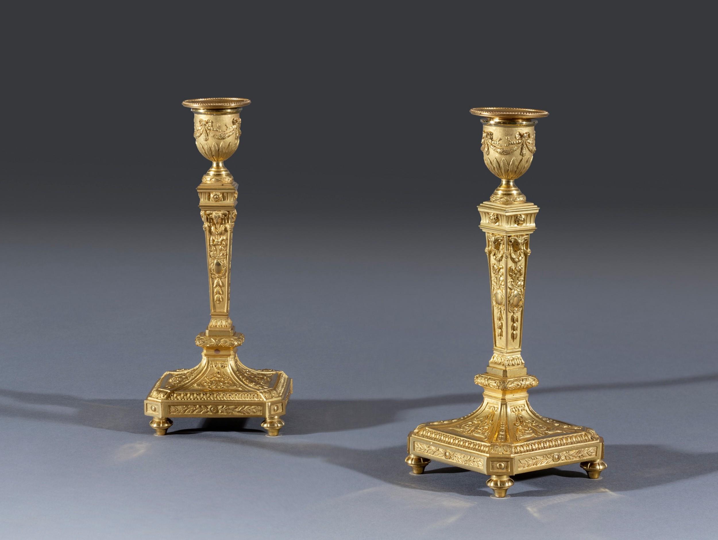 neoclassical style ormolu candlesticks