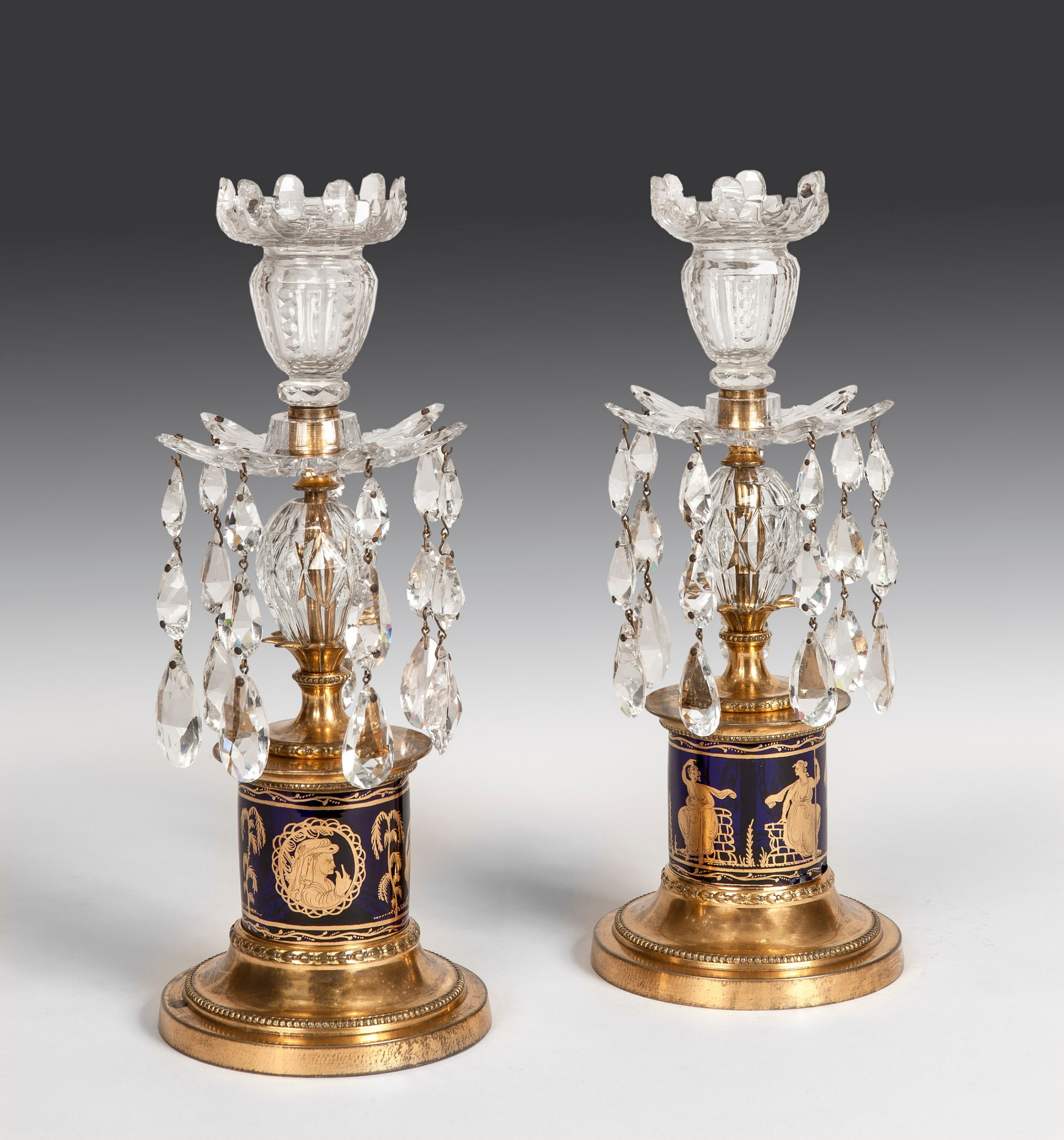 pair of ormolu and glass lustres