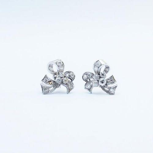 Vintage 1940 White Gold Diamond Bow Earrings