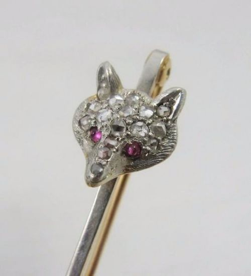 rose gold edwardian fox head stock pin