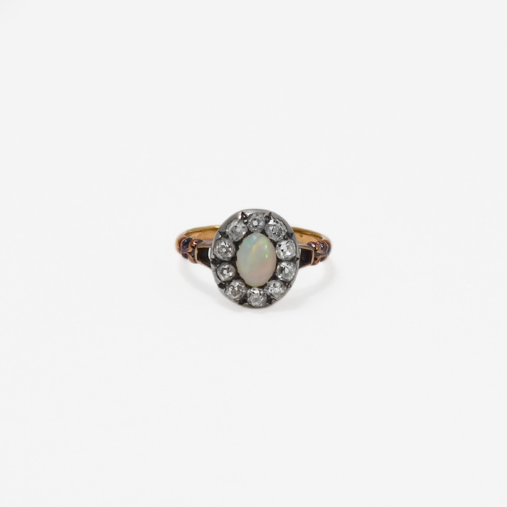 art deco opal and diamond cluster ring