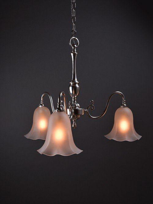english three branch silver plate chandelier