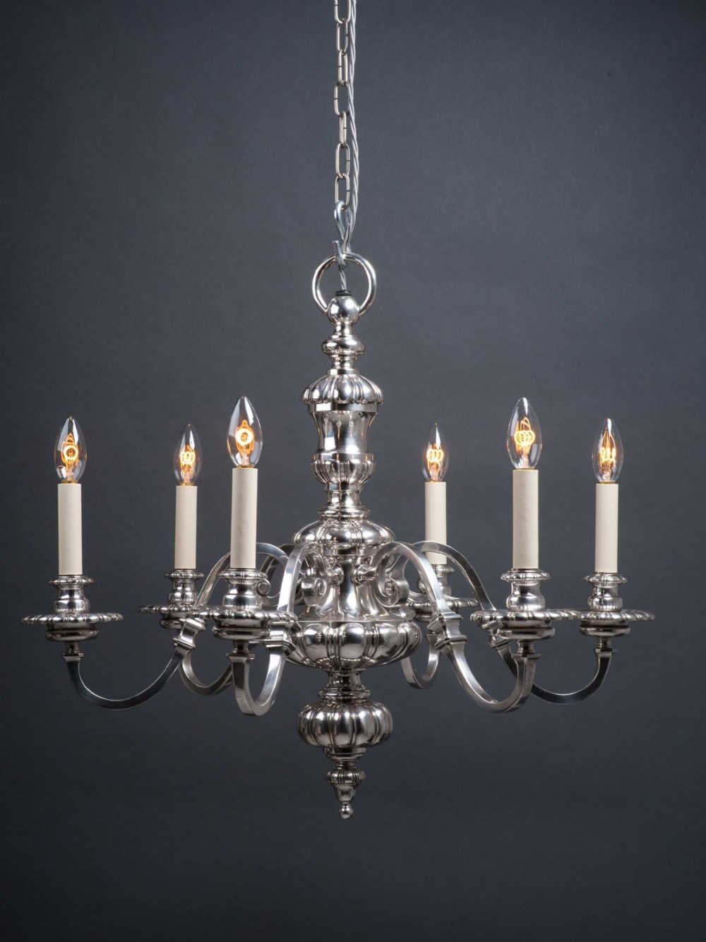 gadrooned english silver plate chandelier