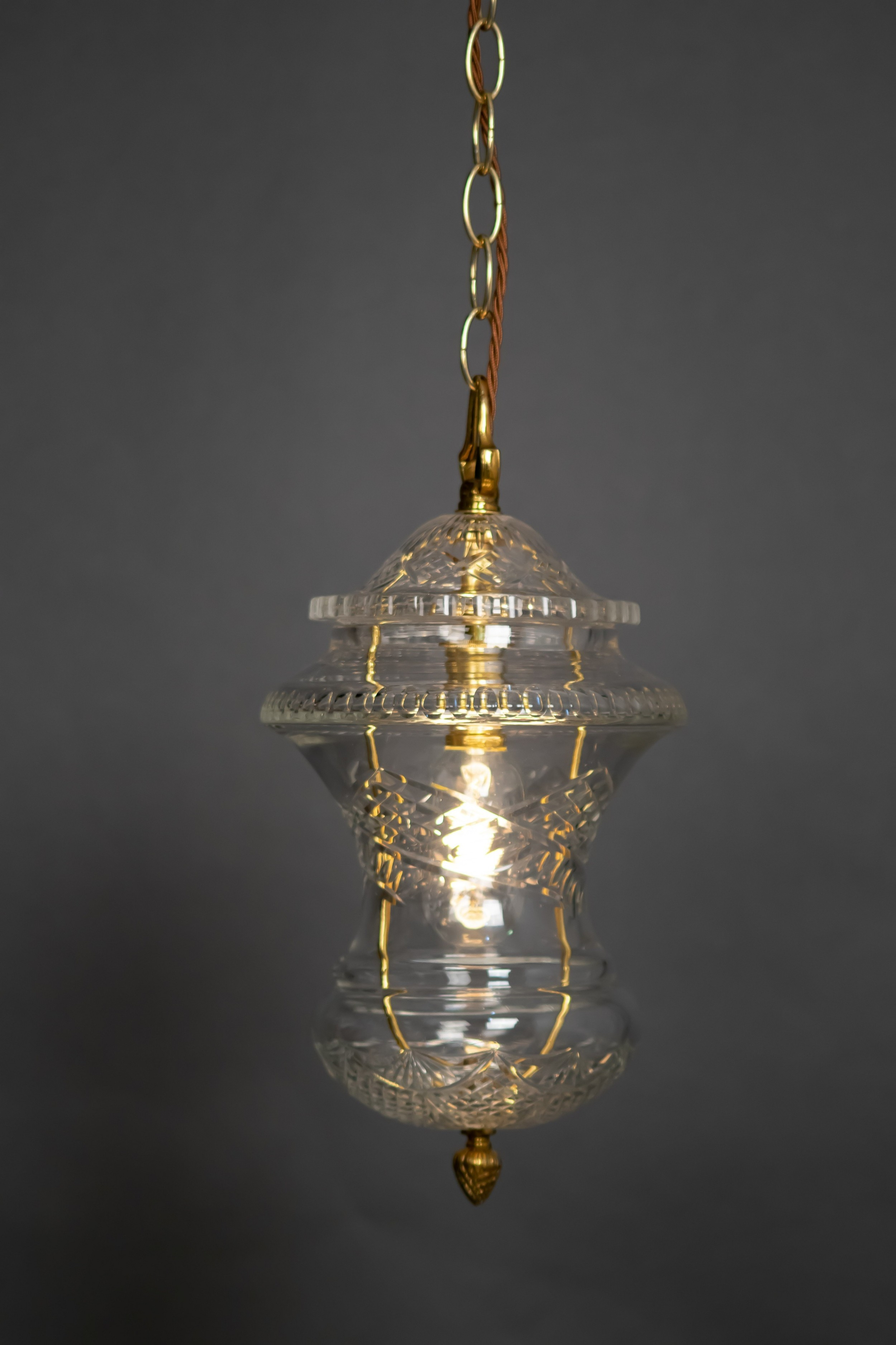 hobnail cut glass pendant light