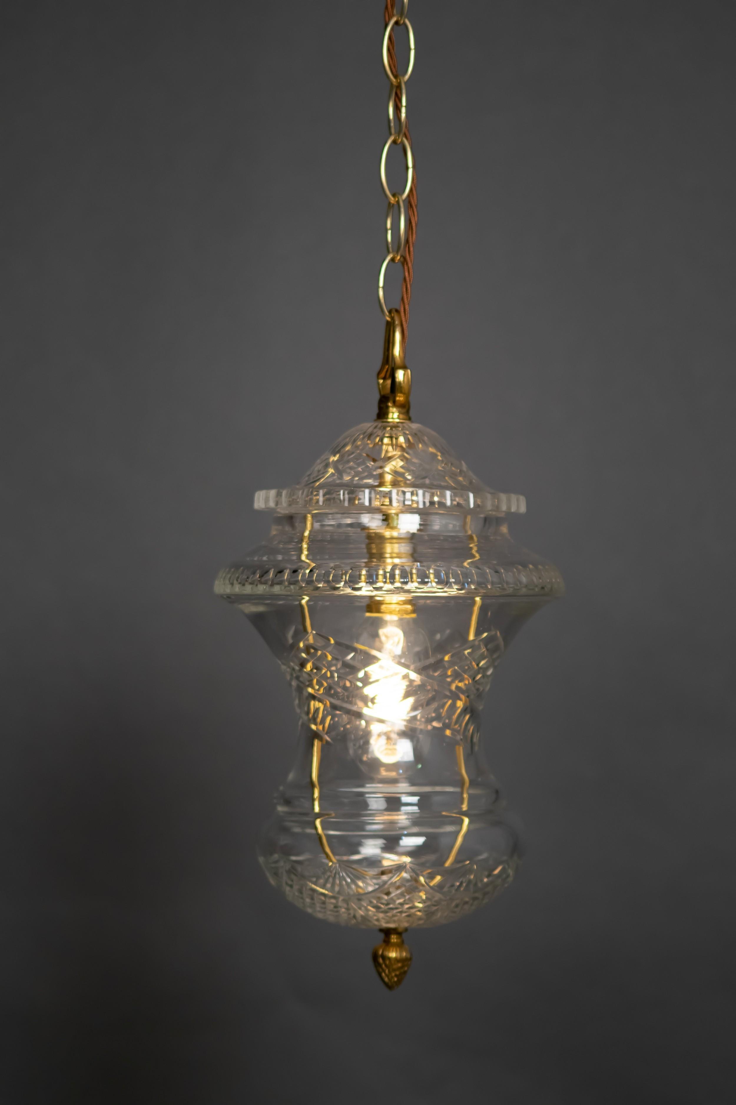 cut glass pineapple pendant light