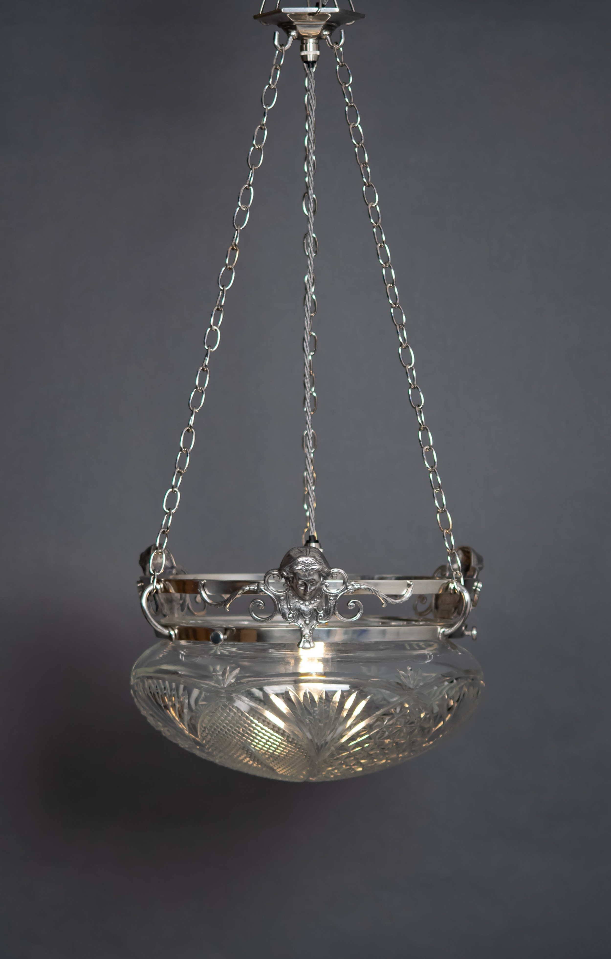 silver plated glass bowl plafonnier