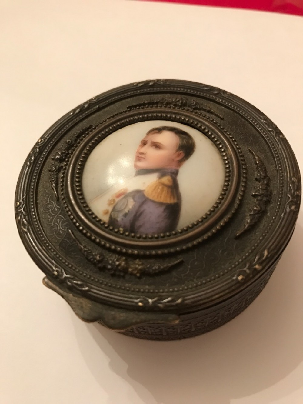 a 19th century french brass powder box with hand painted porcelain plaque to the centre