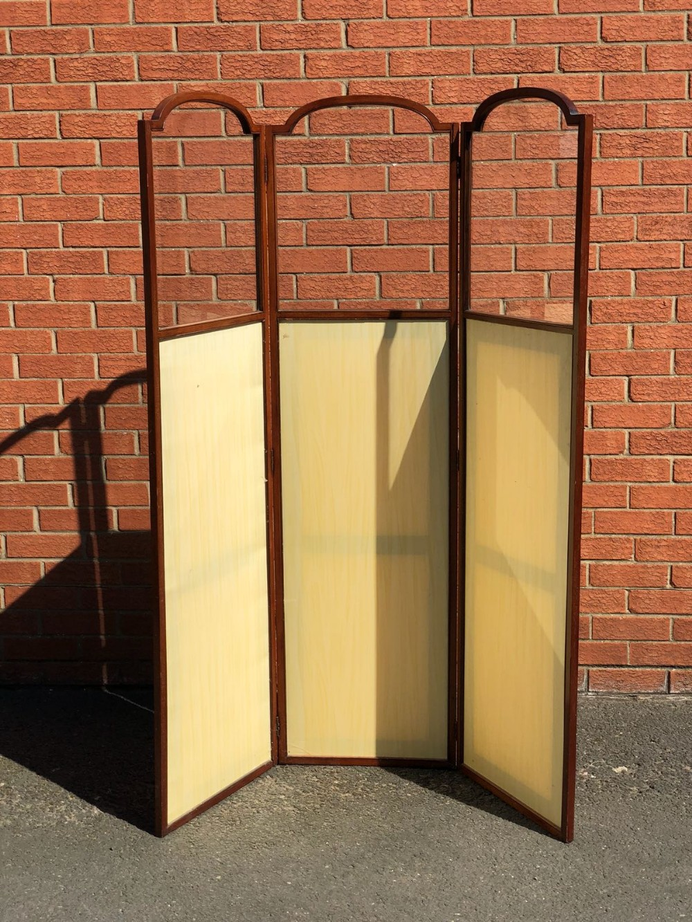 victorian mahogany framed dressing screen with glass tops superb quality