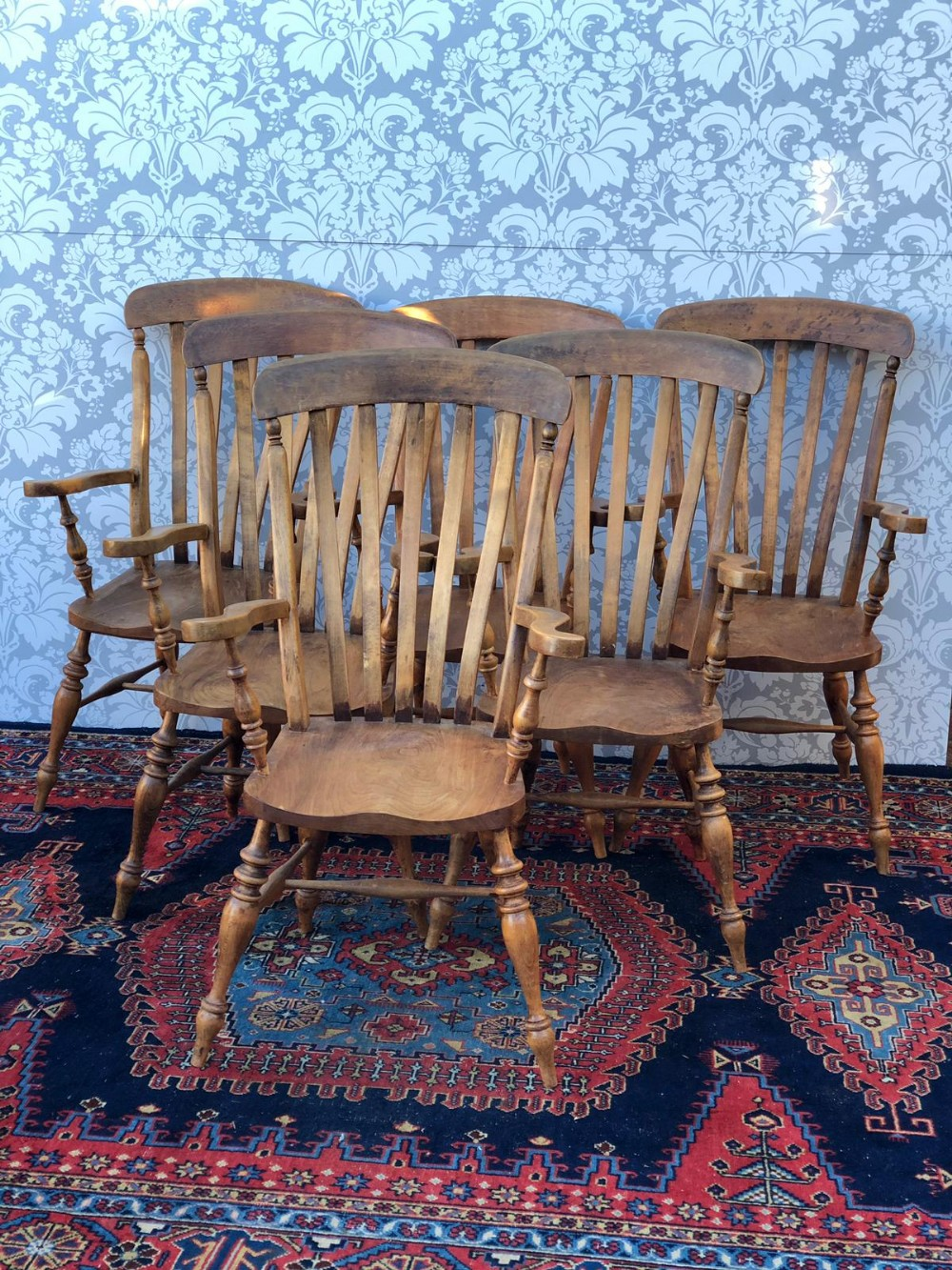 set of six victorian farmhouse windsor chairs all original