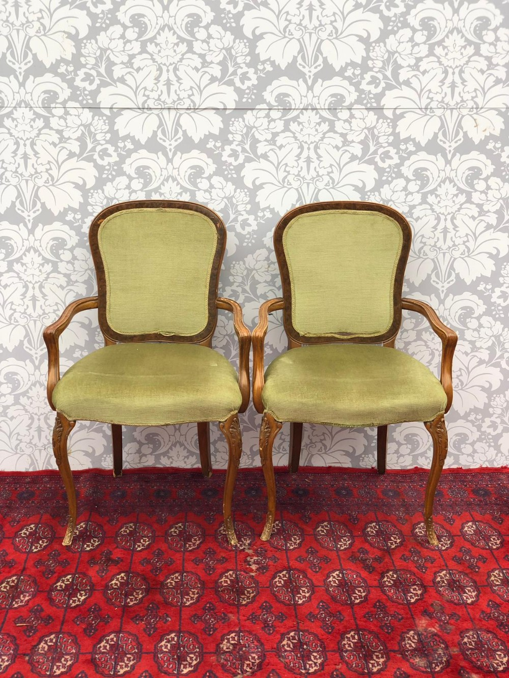 A Pair Of French Walnut Framed Upholstered Bedroom Chairs ...