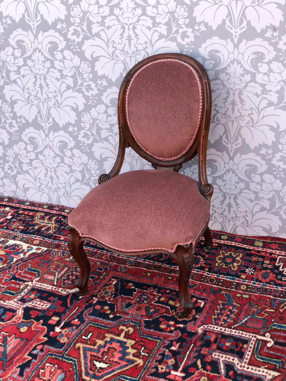 victorian spoon back bedroom chair recently recovered and in super order