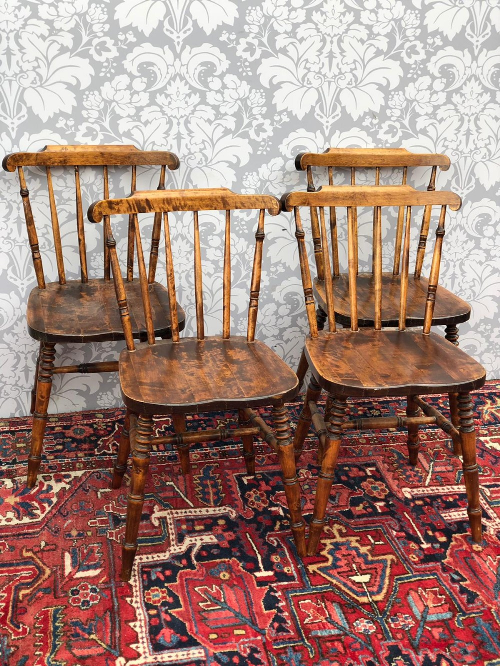 set of four edwardian beech spindle backed dining chairs good order