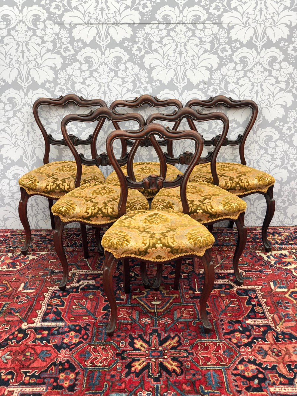 set of 6 victorian mahogany ballon backed dinning chairs original and in great order cab legs