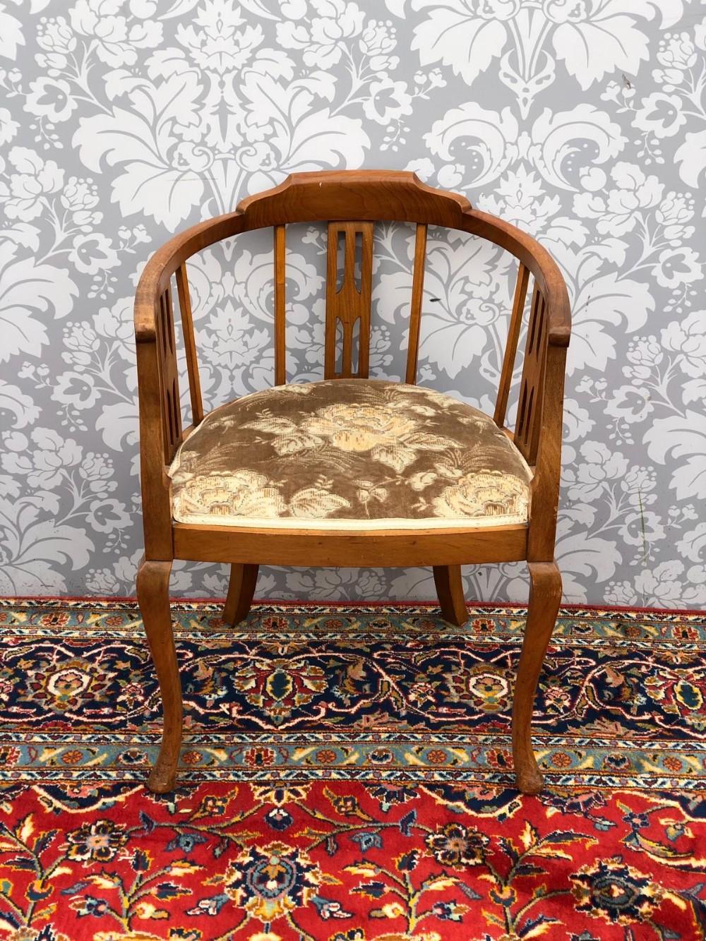 edwardian mahogany framed tub chair
