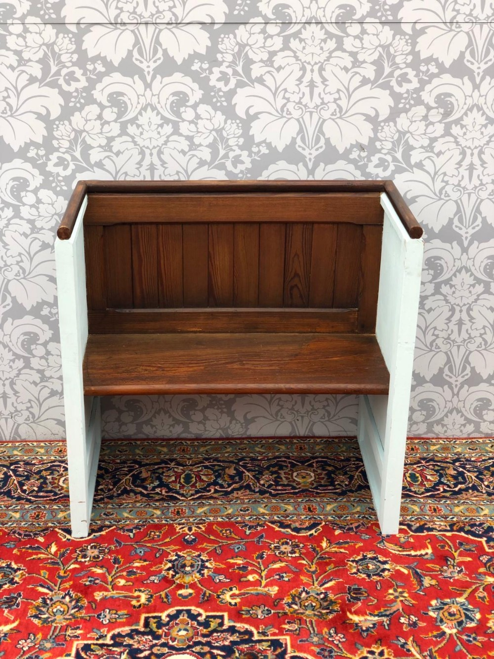 superb victorian hall seat with painted sides stunning