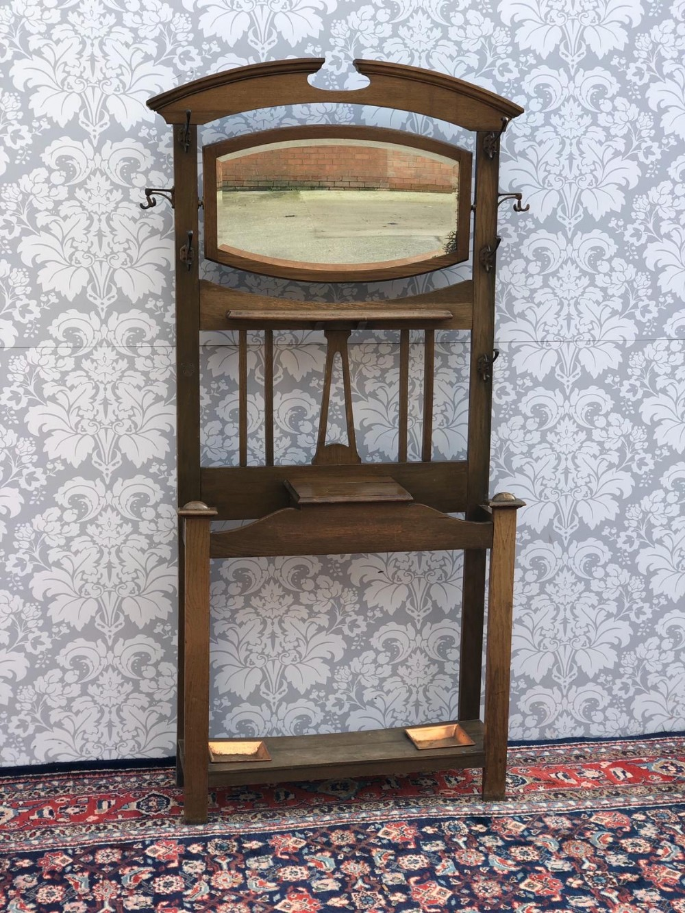 arts and crafts solid oak hall stand original