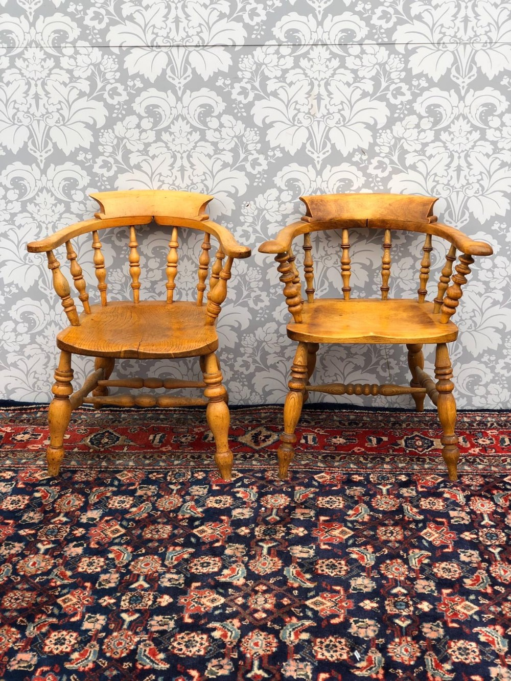 a matching pair of victorian beech and elm captains chairs original