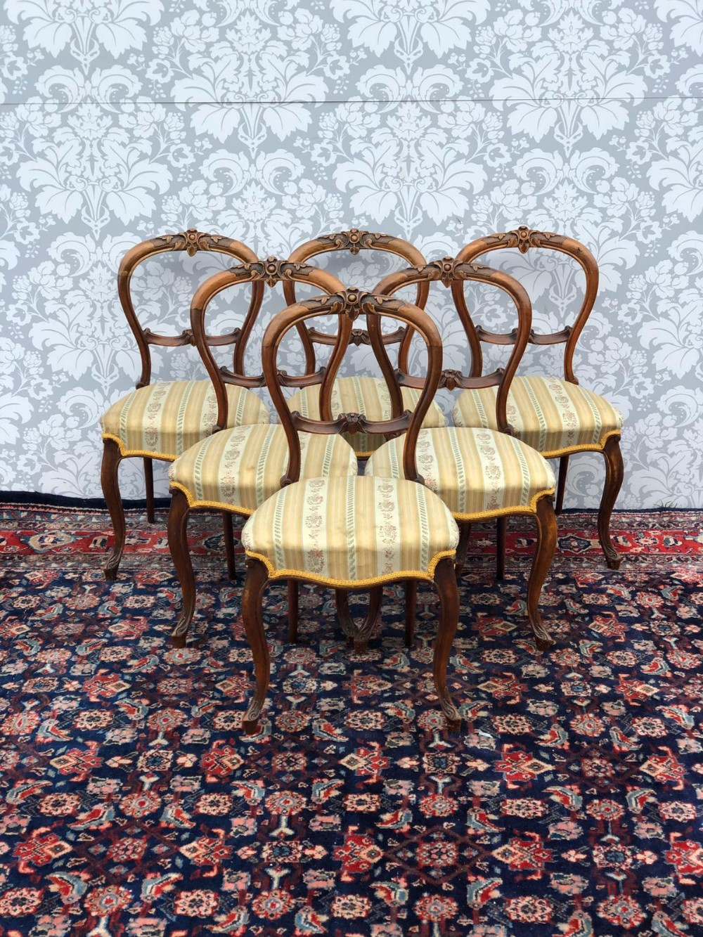 a very good set of 6 victorian ballon backed chairs superb quality all original