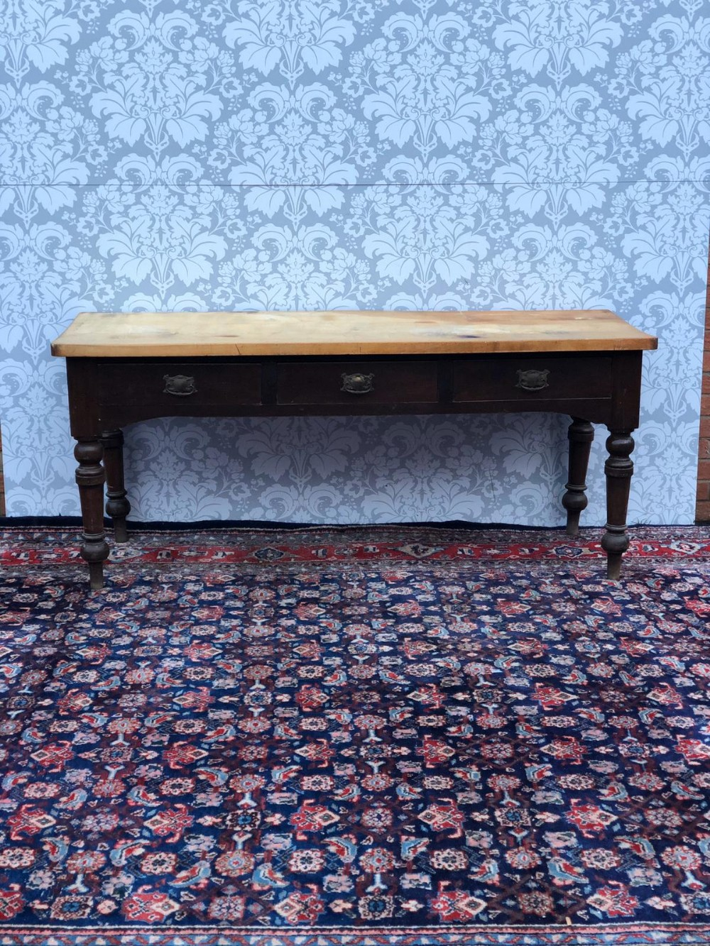 a antique all original victorian 3 drawer serving table scyomore topped superb quality