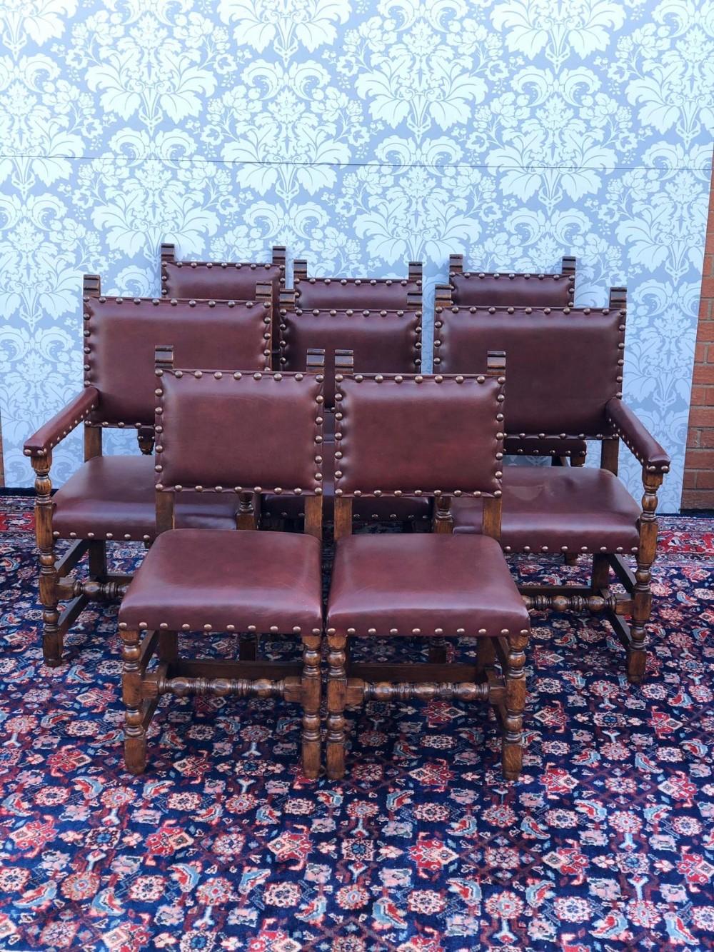 Amazing Stunning Set Of 8 Solid Oak And Leather Dining Chairs 1930S Frankydiablos Diy Chair Ideas Frankydiabloscom