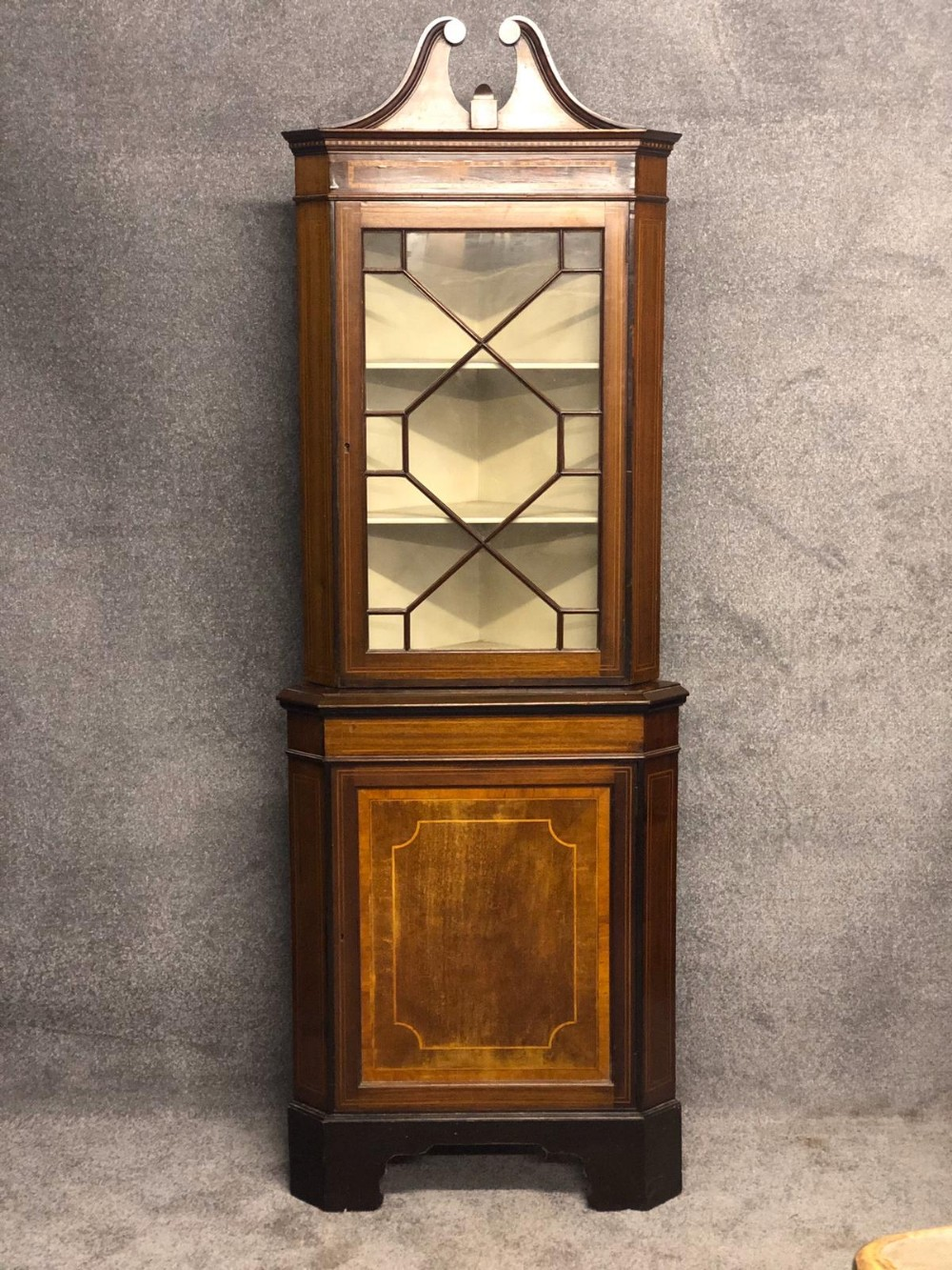 a original edwardian inlaid mahogany corner display cabinet in the sherrerton revival style