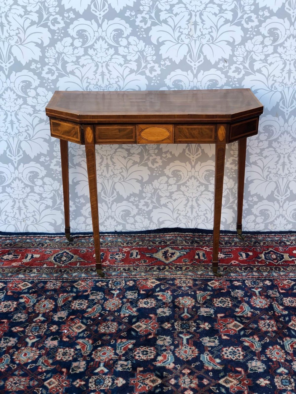 a georgian fold over inlaid mahogany card table very fine superb quality