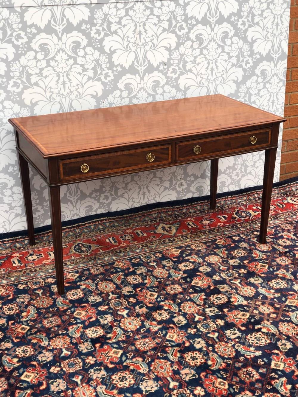 stunning inlaid 2 drawer writing desk mahogany fully restored superb order