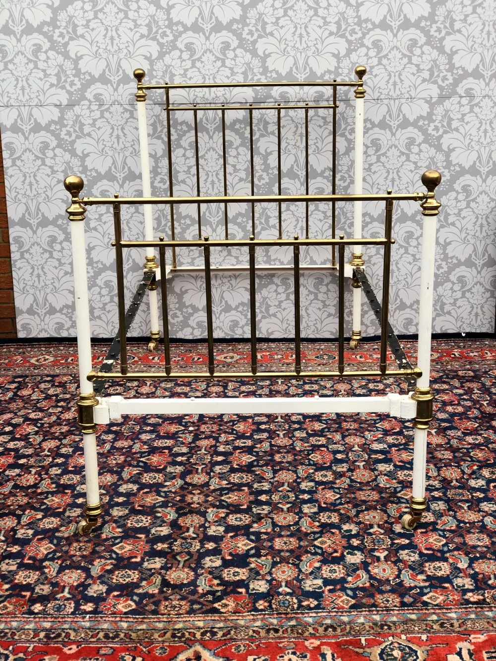 a all original single victorian brass and iron bed stead with painted white head and base original