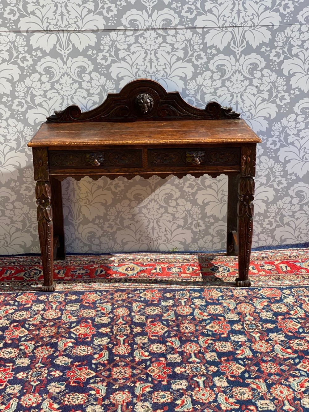 solid oak victorian heavily carved solid oak hall table two drawers
