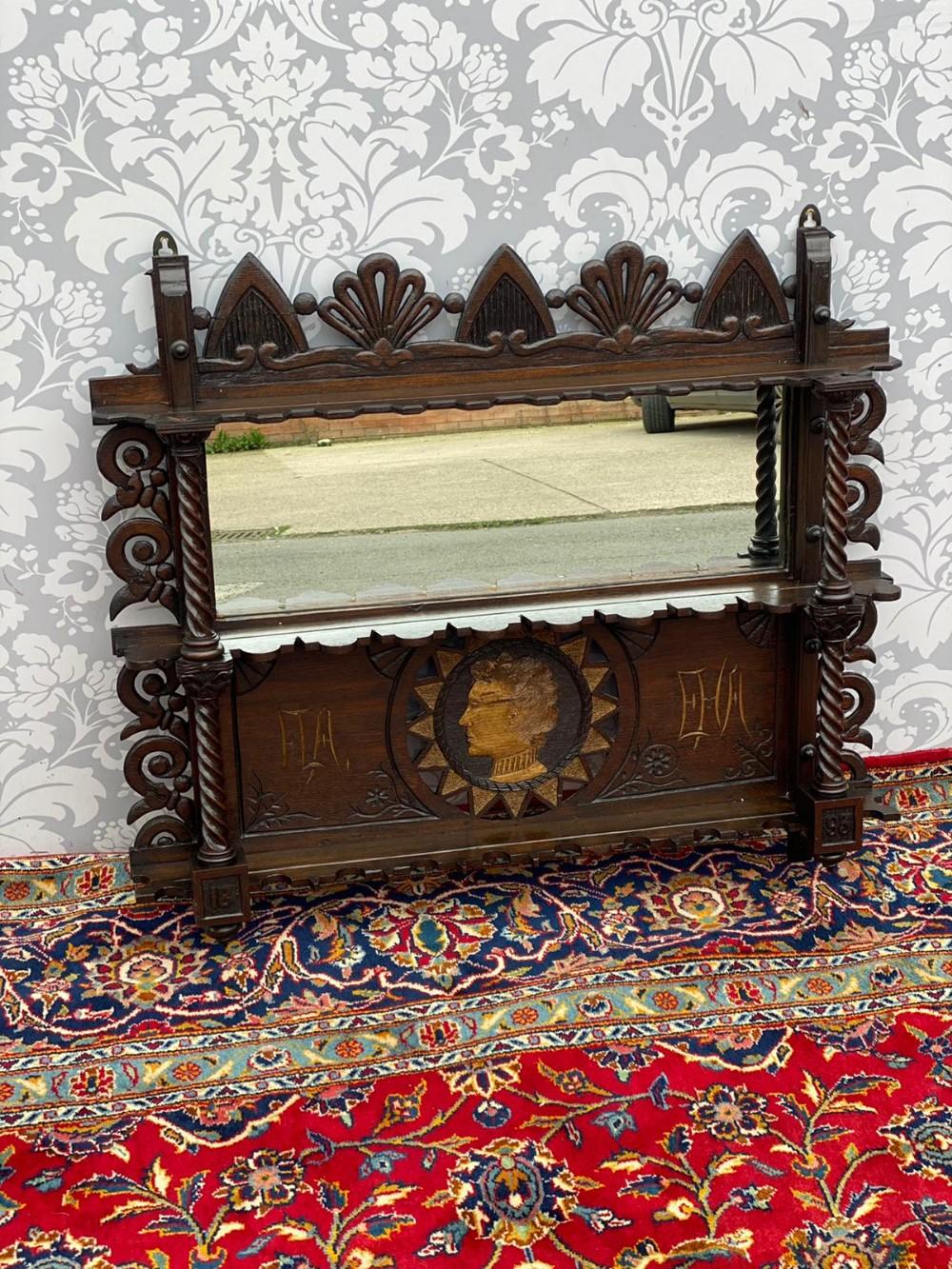 stunning quality gothic oak heavily carved oak hall shelf mirrored