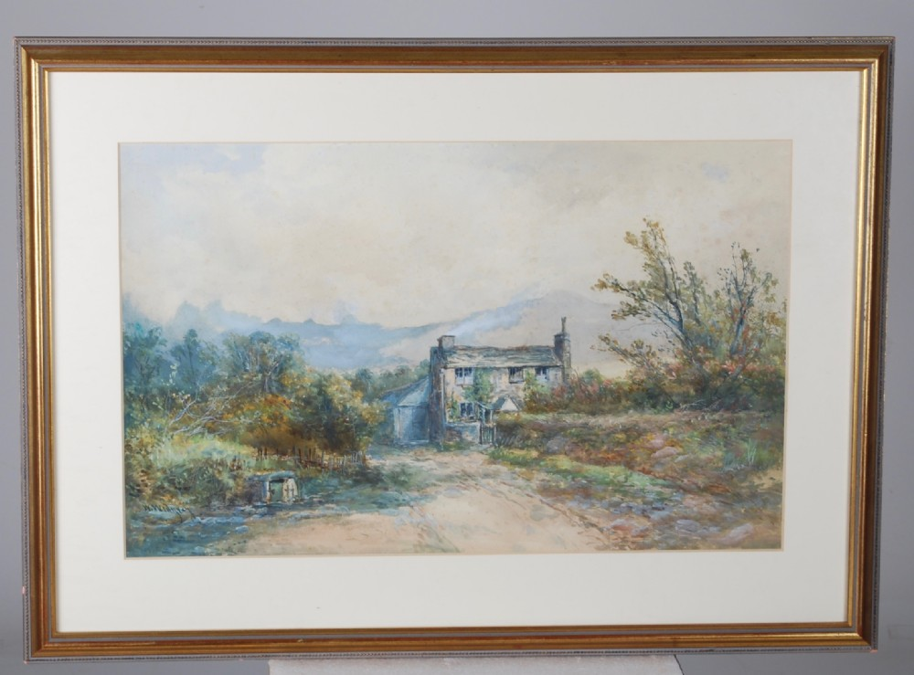 a water colour of an exmoor cottage 1870